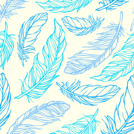 Seamless pattern with hand drawn decorative feathers Vector