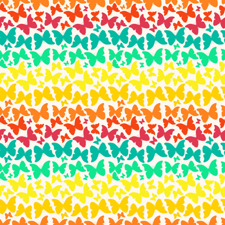 Vector seamless pattern with colorful rainbow silhouette butterflies  Vector
