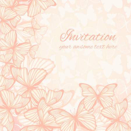 Greeting card template with hand drawn butterfies and place for text Vector