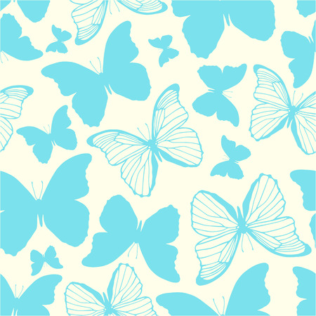 Vector seamless pattern with hand drawn butterflies Vector