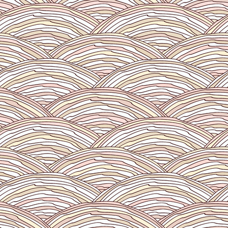 Vector seamless pattern with hand drawn decorative waves Illustration