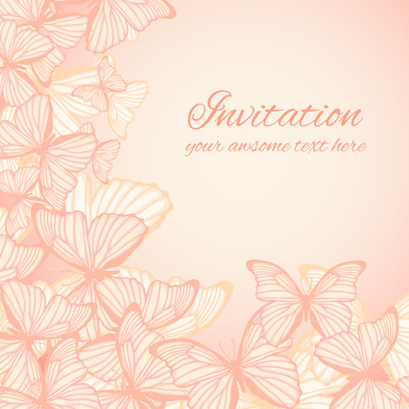 Invitation card template with hand drawn butterflies  Vector illustration  Vector