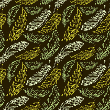 Seamless pattern with hand drawn decorative feathers  Vector illustration  Vector