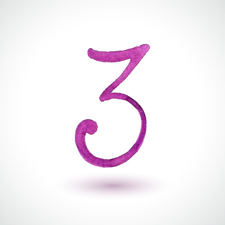 Number 3 painted with watercolor and brush on white background  Vector illustration  Vector