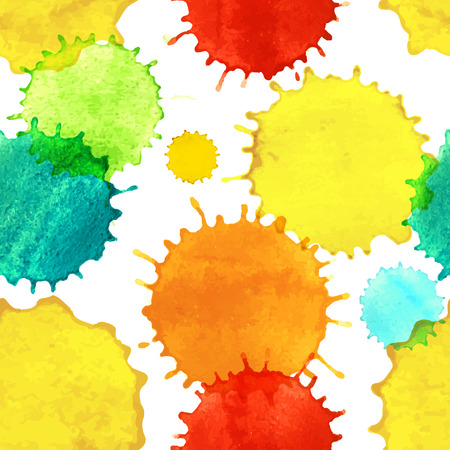 Seamless pattern with colorful watercolor paint splash drops  Template for your design  Vector illustration  Vector