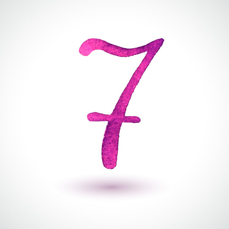 Number 7 painted with watercolor and brush on white background  Vector illustration  Vector