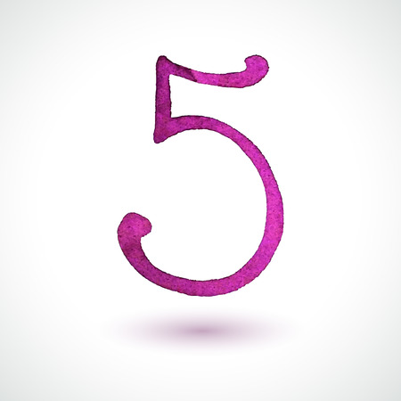 Number 5 painted with watercolor and brush on white background  Vector illustration  Vector