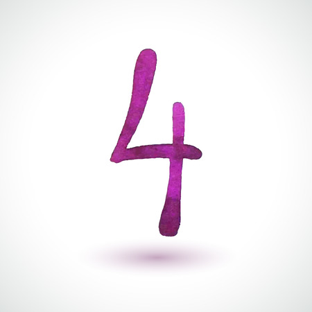 Number 4 painted with watercolor and brush on white background  Vector illustration