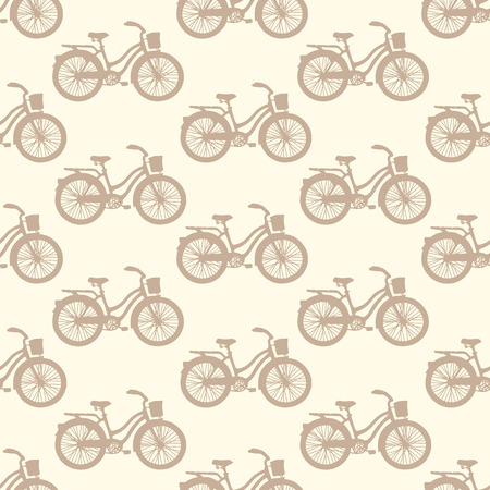 Seamless pattern with hand drawn vintage bicycles  Vector illustration Vector