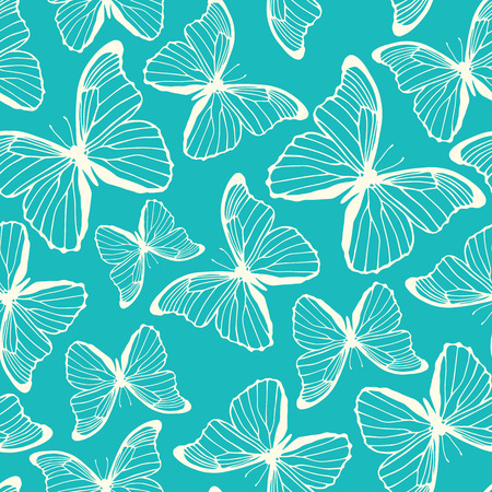 Seamless pattern with hand drawn decorative butterflies  Template for your design  Vector illustration Vector