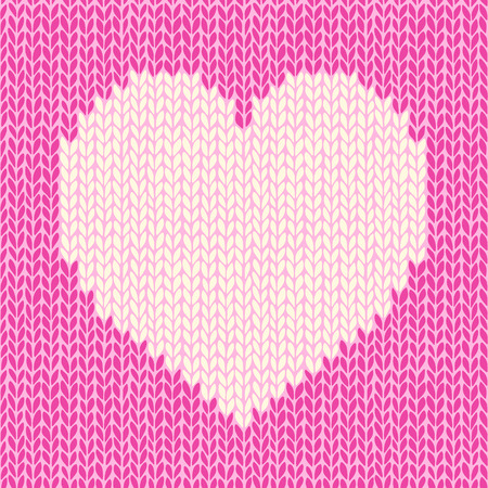 Vector seamless pattern with knitted heart Vector