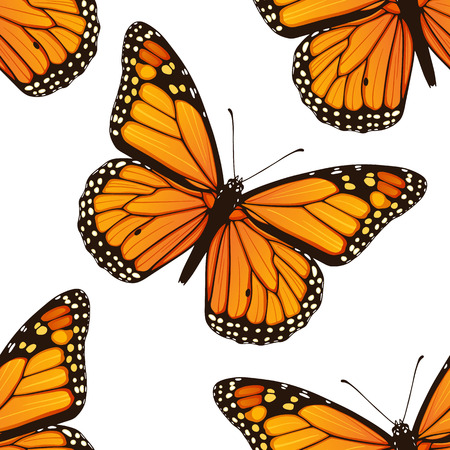 butterfly wings: Vector seamless pattern with monarch butterflies
