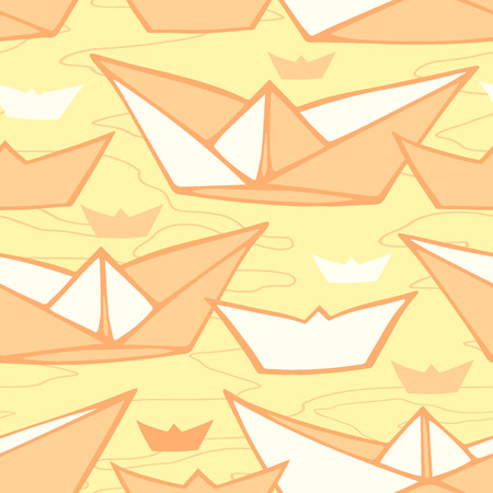 Vector seamless pattern with hand drawn paper ships Vector