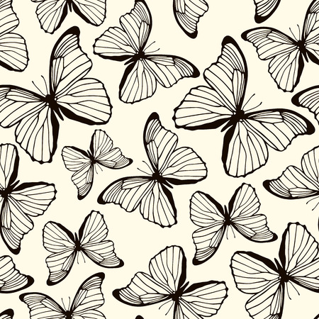 Seamless pattern with hand drawn butterflies  Spring summer background  Vector illustration Illustration