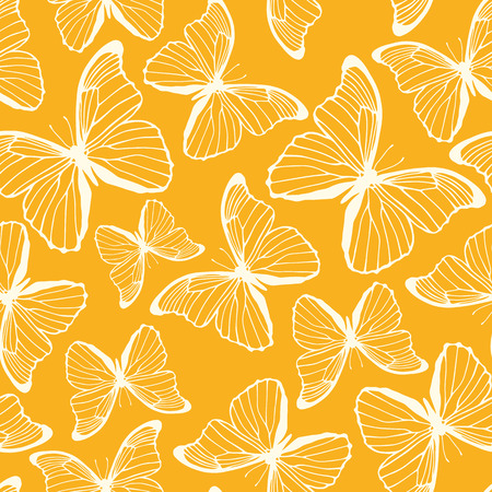 Seamless pattern with hand drawn butterflies  Spring summer background  Vector illustration Vector