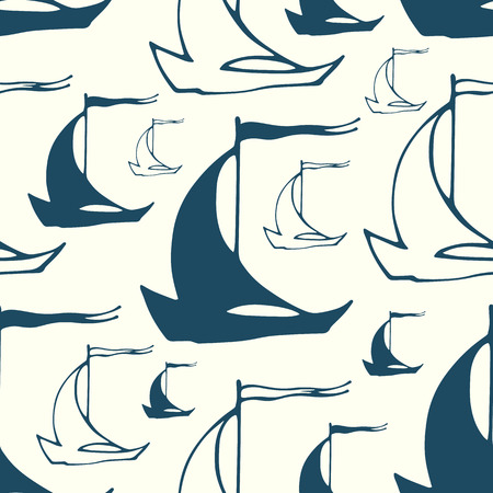 Vector seamless pattern with abstract hand drawn decorative sailing ships