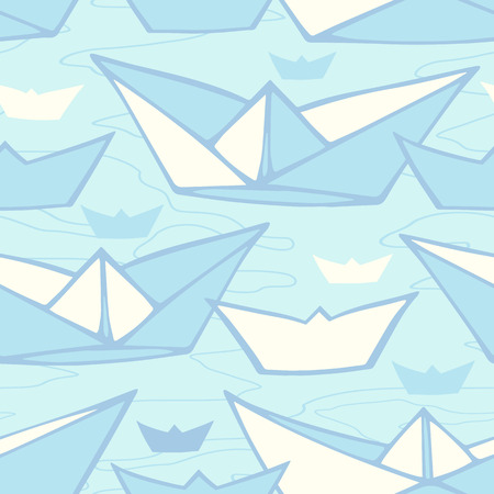 Vector seamless pattern with abstract hand drawn paper ships Vector