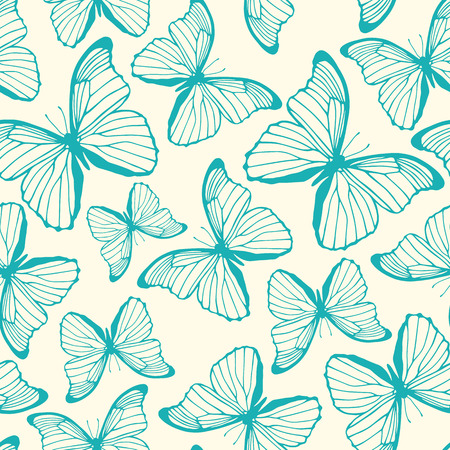 Seamless pattern with hand drawn outline butterflies Vector