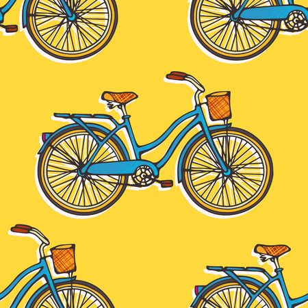 Seamless pattern with colorful hand drawn vintage bicycles Vector