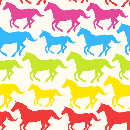 Seamless pattern with hand drawn silhouette rainbow horses