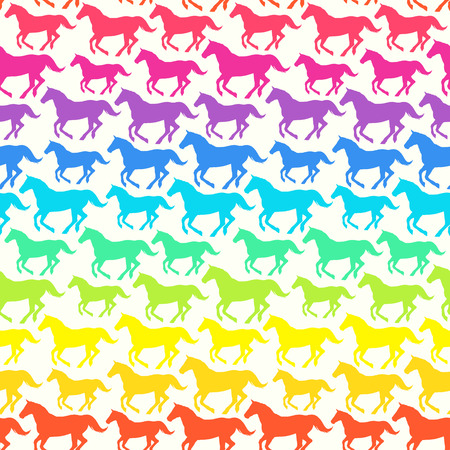 Seamless pattern with hand drawn silhouette rainbow horses  Vector