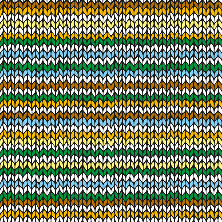 fancywork: Seamless pattern with colorful hand drawn knitted stripes Illustration
