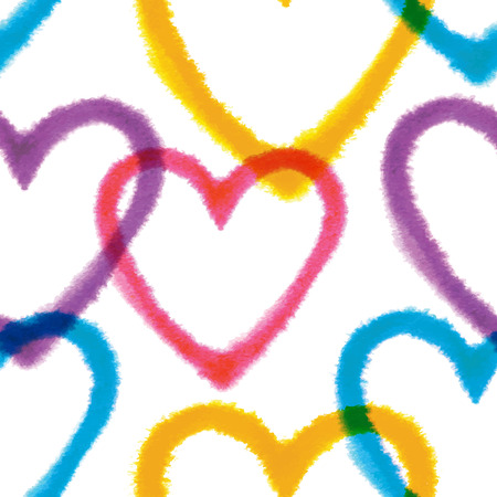 Seamless pattern with hand drawn watercolor hearts Vector