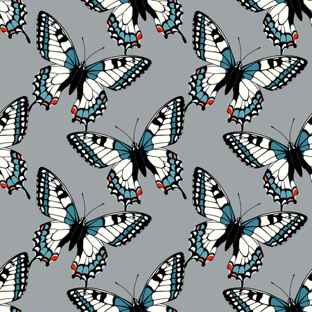 swallowtail: Seamless pattern with machaon swallowtail butterflies Illustration