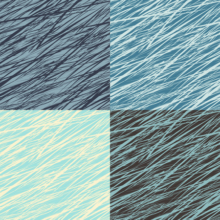 Set of abstract linear grunge seamless patterns Vector