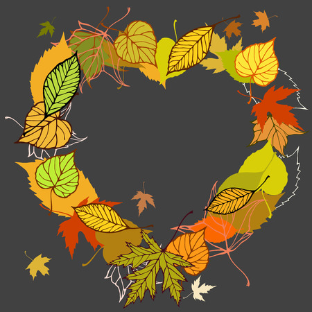 heart shaped leaves: Heart shaped wreath made of autumn leaves illustration