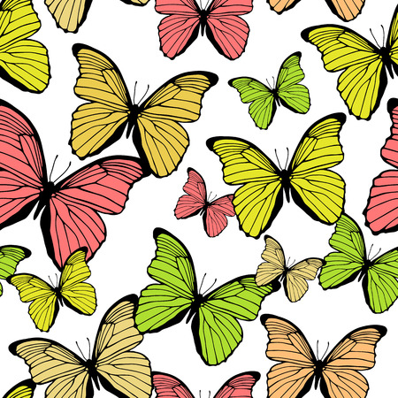Seamless pattern with decorative colorful butterflies Vector