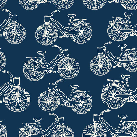 Seamless pattern with outline vintage bicycles