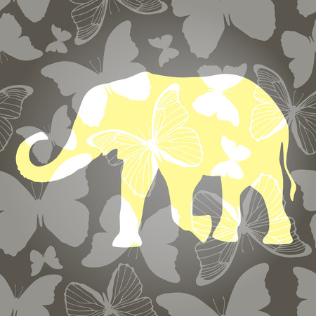 Decorative background with elephant and butterflies Vector