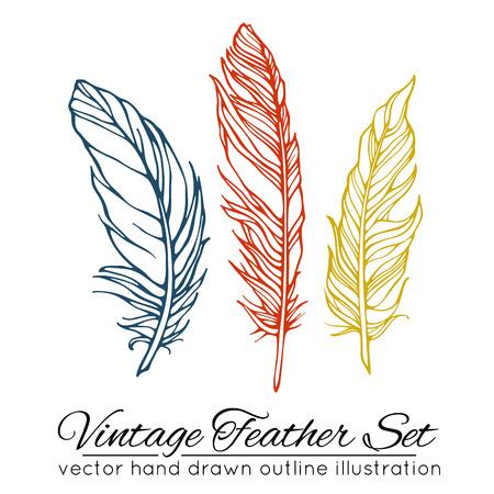Vintage feather set isolated on white background