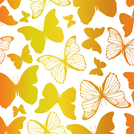 Seamless pattern with decorative butterflies Vector