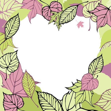 Heart-shaped frame made of autumn leaves. Romantic card Vector