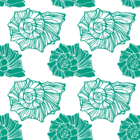 Seamless pattern with decorative seashells