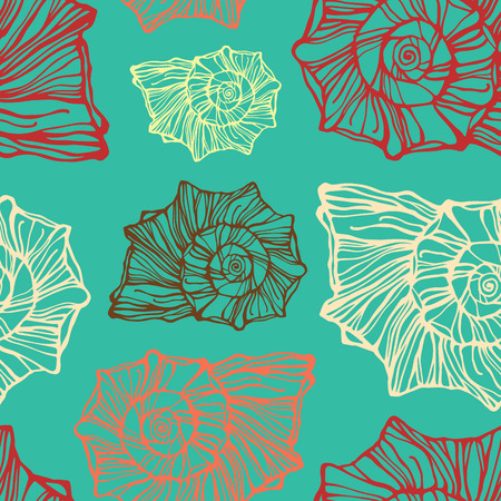 oceanside: Seamless pattern with decorative seashells