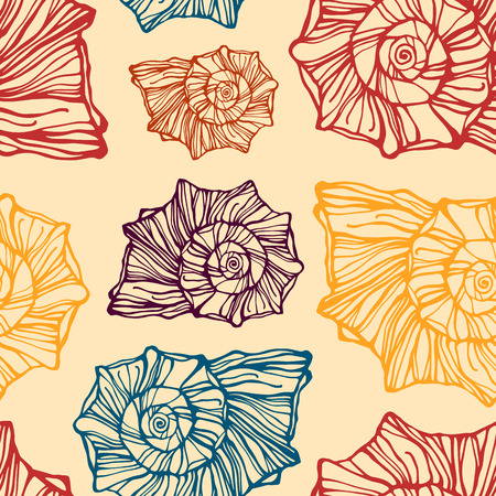 cockle: Seamless pattern with decorative seashells
