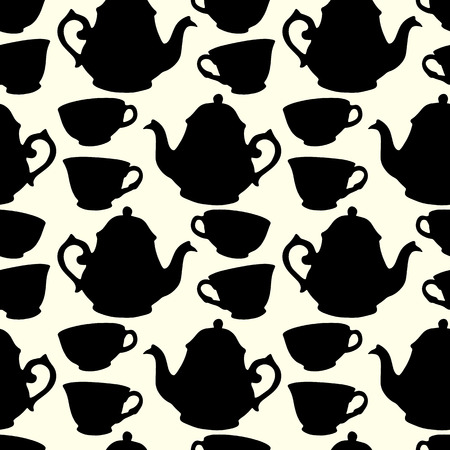 eat me: Seamless pattern with decorative cups and teapots Illustration