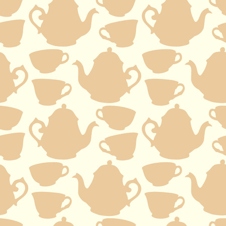 five o'clock: Seamless pattern with decorative cups and teapots Illustration