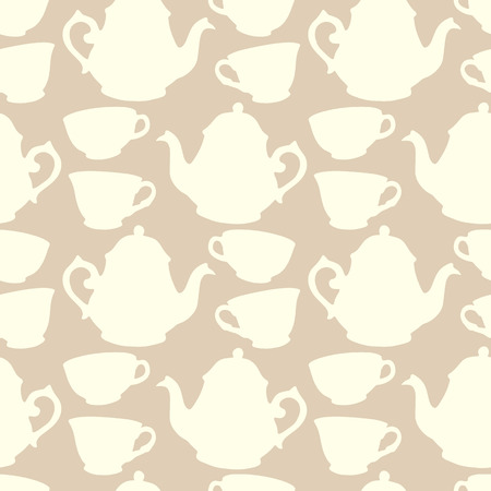 Seamless pattern with decorative cups and teapots Illustration