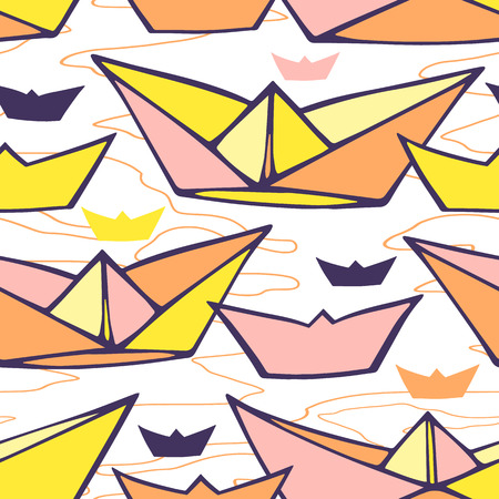 Seamless pattern with colorful paper ships photo