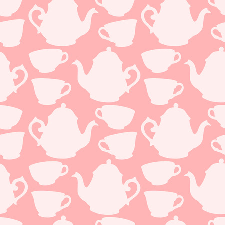 afternoon fancy cake: Seamless pattern with decorative cups and teapots Illustration