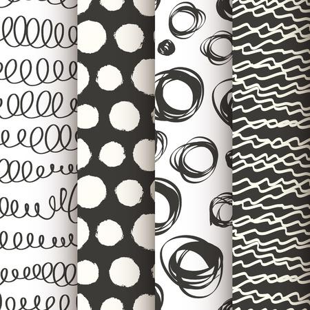 rallas: Juego de 4 doodle de patrones sin fisuras en blanco y negro