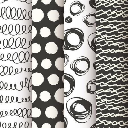vintage pattern background: Set of 4 black and white doodle seamless patterns