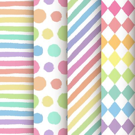 Set of 4 hand painted geometric seamless patterns