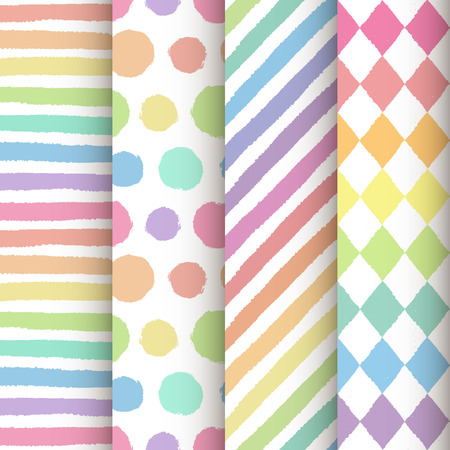 pastel background: Set of 4 hand painted geometric seamless patterns