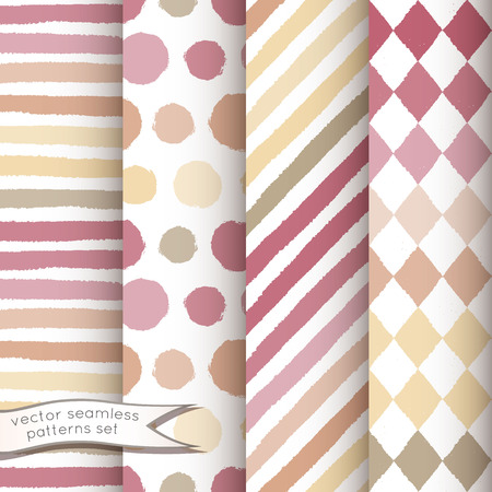 Set of 4 hand painted geometric seamless patterns