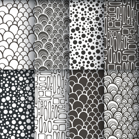 Black and white geometric seamless patterns se